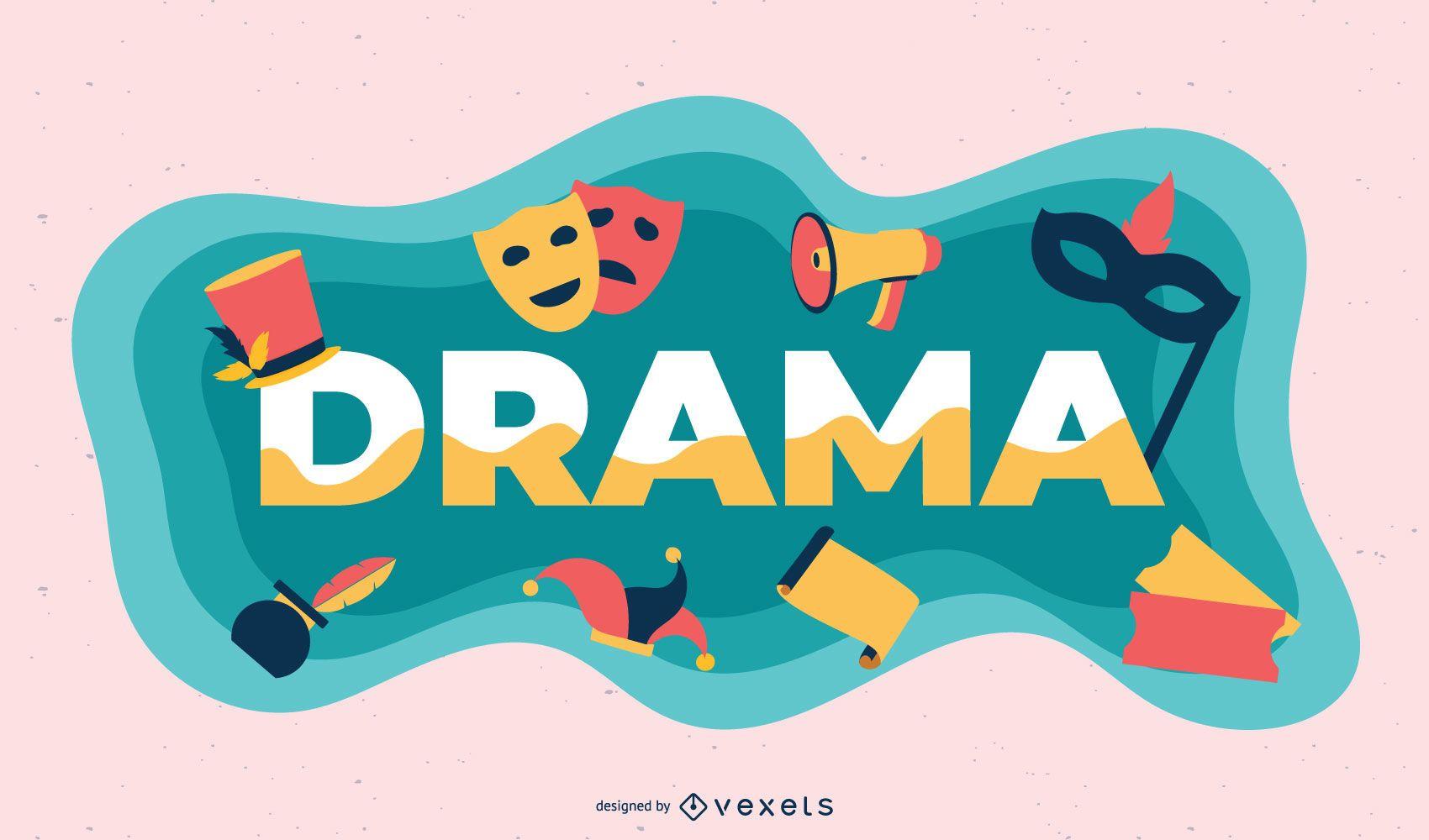Ilustração de tema de drama