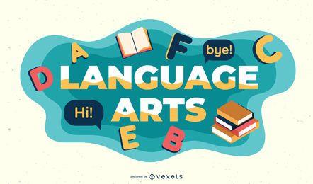 Ilustração de assunto de artes de linguagem