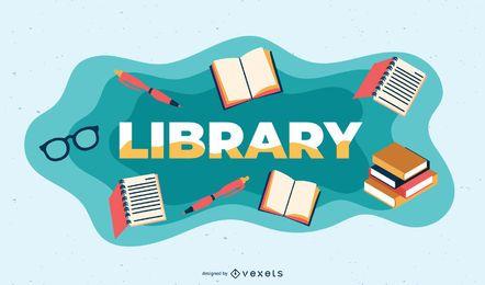 Ilustración de tema de biblioteca