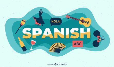 Ilustração de assunto em espanhol