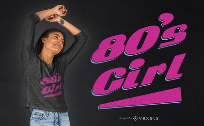 Diseño de camiseta de niña de los 80
