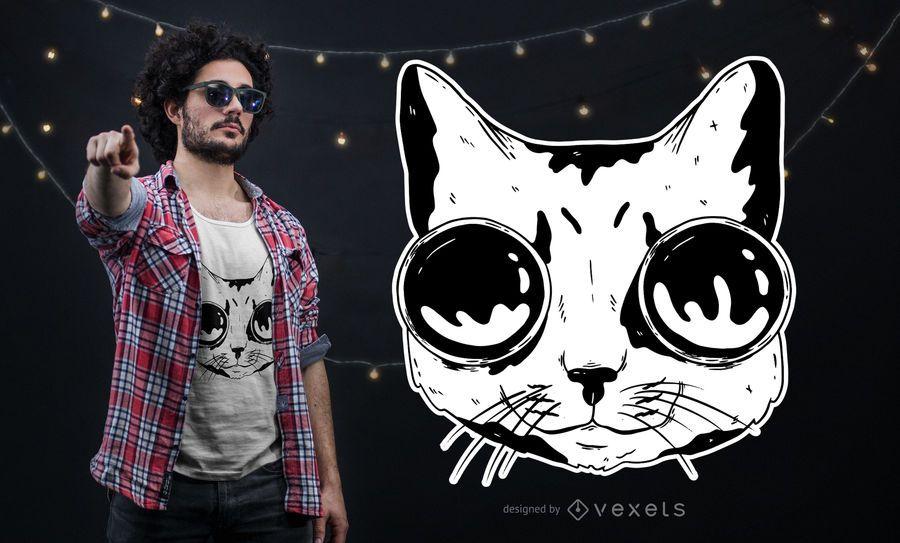 Diseño de camiseta de gato con gafas.