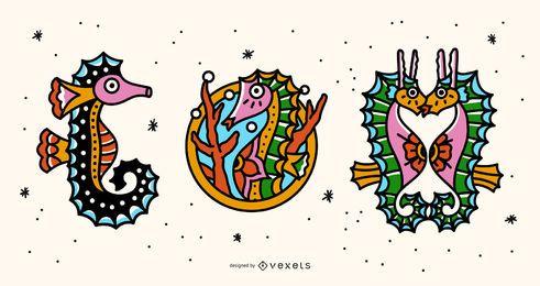 Conjunto de tatuagem colorida de cavalos-marinhos