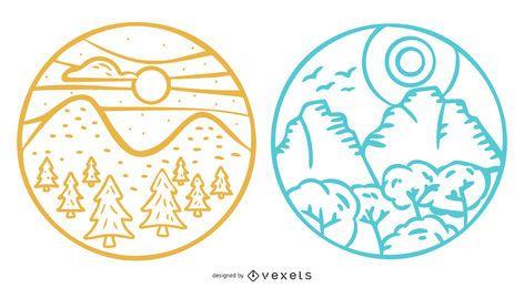 Conjunto de insignia de paisaje de montaña