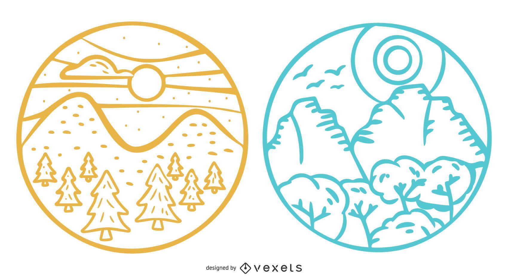 Mountain Landscape Badge Set