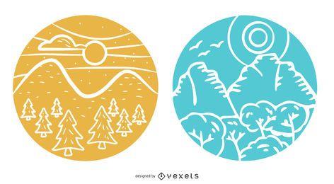 Pacote de design de emblema de paisagem