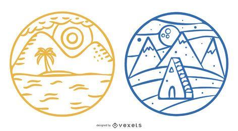 Paquete de insignias del paisaje natural