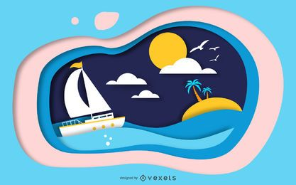 Papercut Island Szenenentwurf