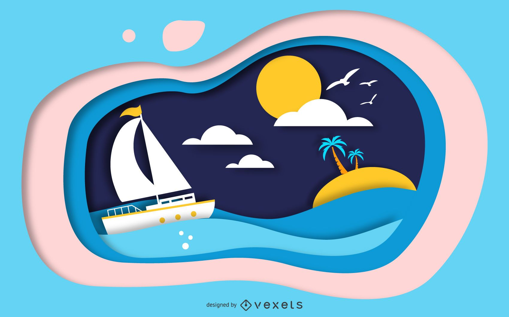Papercut Island Scene Design