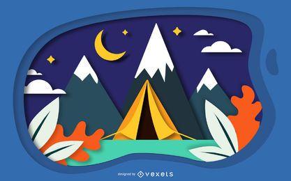 Projeto de papercut de paisagem de acampamento