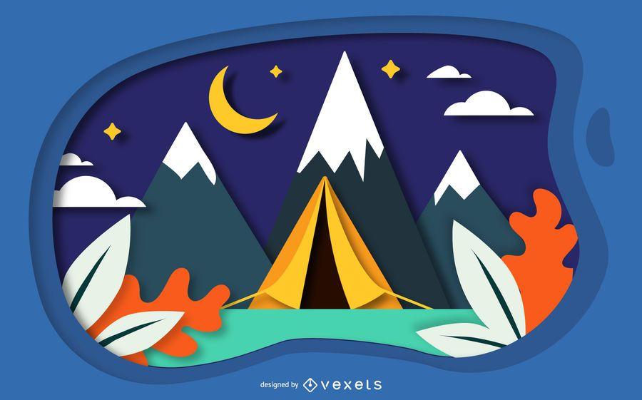 Diseño de papercut de paisaje de camping