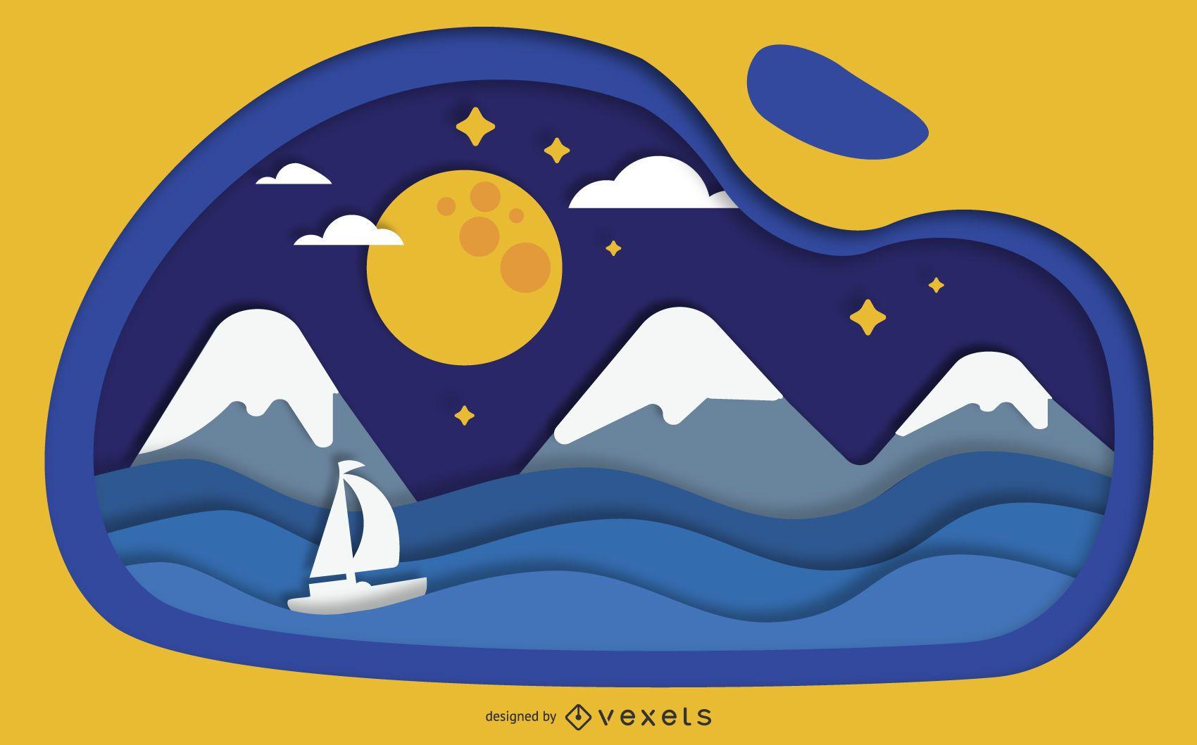 Papercut paisaje noche arte vectorial