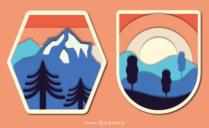 Conjunto de insignias de paisaje vintage Papercut