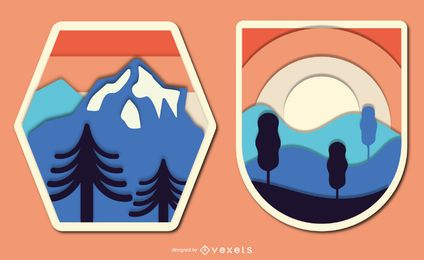 Vintage Papercut Landscape Badge Set