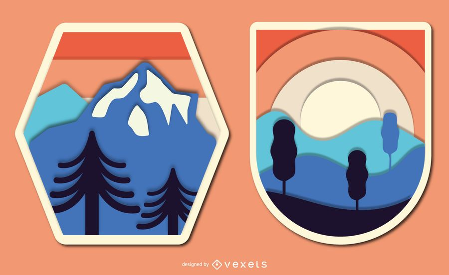 Conjunto de distintivo de paisagem Papercut vintage