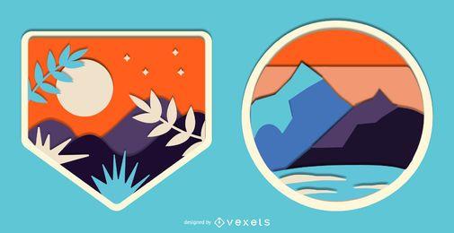 Conjunto de distintivo de natureza paisagem Papercut