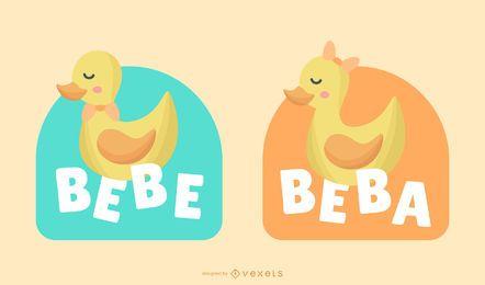 Novo conjunto de banner espanhol de bebê