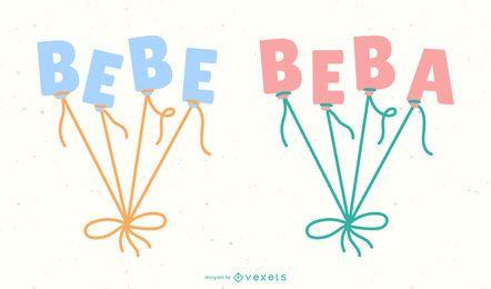 Novo bebê espanhol balão letras Banner conjunto