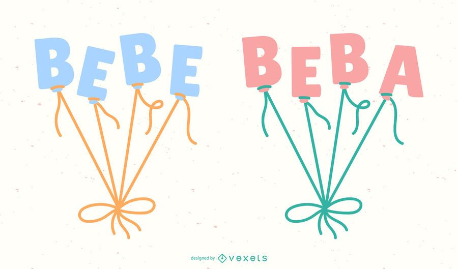 Nuevo conjunto de banner de letras de globo español para bebés