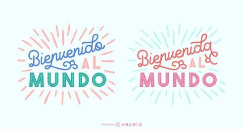 Conjunto de banner de letras en español de bebé nuevo