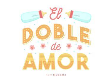 Banner de letras espanhol bebê gêmeo