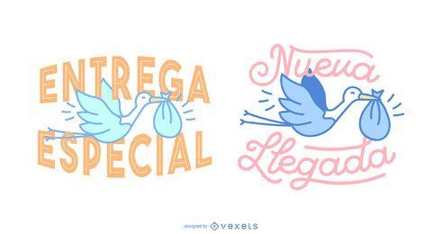 Banners de letras en español de entrega de bebé cigüeña