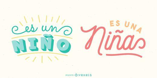 Neues Baby Spanisch Schriftzug Banner Pack