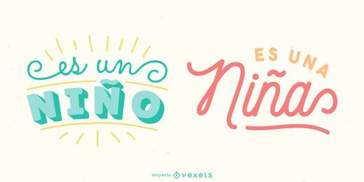 New Baby Spanish Lettering Banner Pack