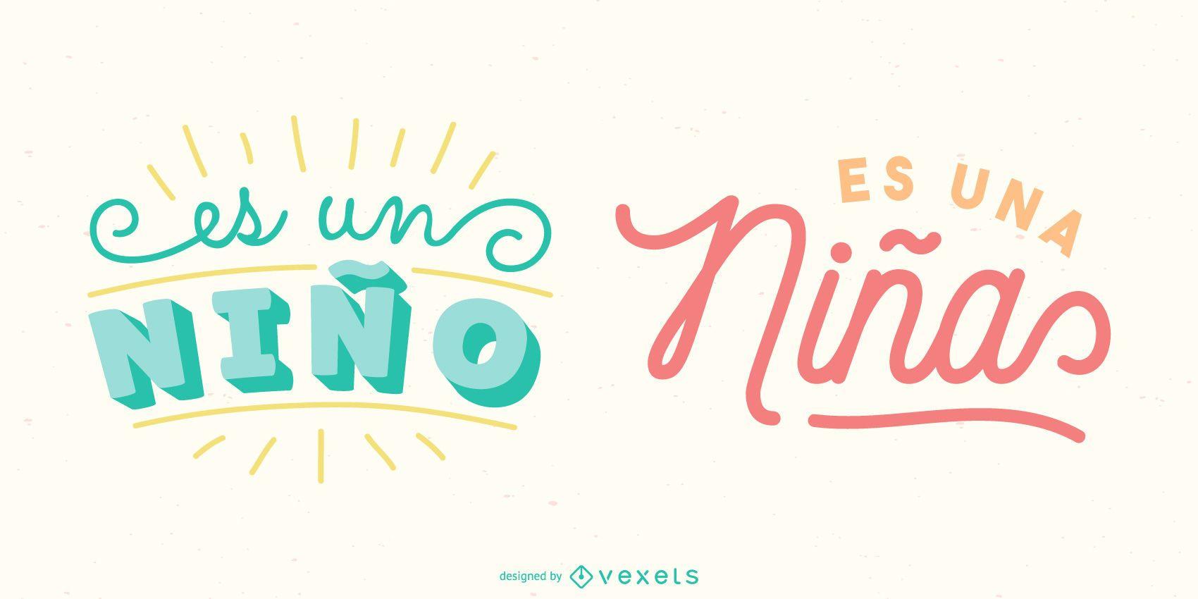 Paquete de pancartas con letras en español New Baby
