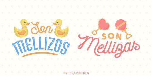 Conjunto de banners de letras en español lindo de bebés gemelos