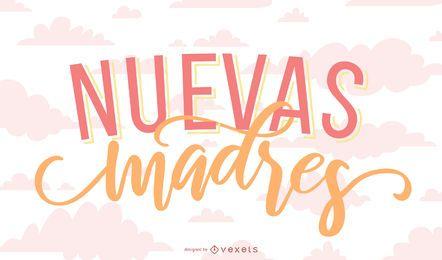 Banner de letras en español de la nueva madre