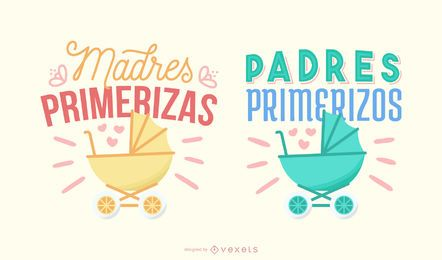 Conjunto de banners de letras en español para nuevos padres