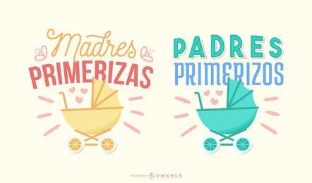 Neue Eltern Spanisch Schriftzug Banner Set