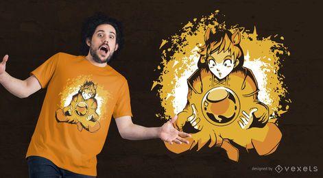 Diseño de camiseta Anime Ball