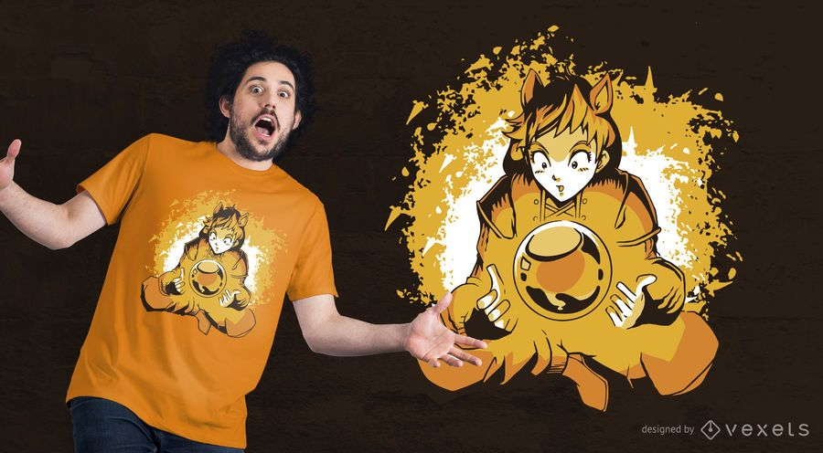 Diseño de camiseta de anime ball