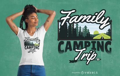 Design de t-shirt para viagem de acampamento em família