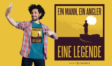 Diseño de camiseta angler-alemán