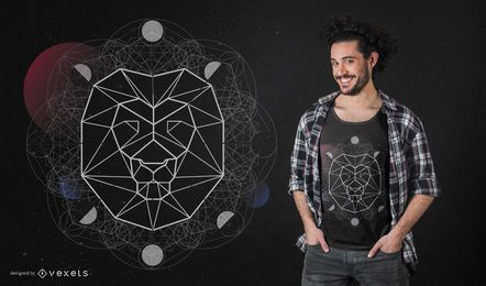 Projeto geométrico do t-shirt da cabeça do leão