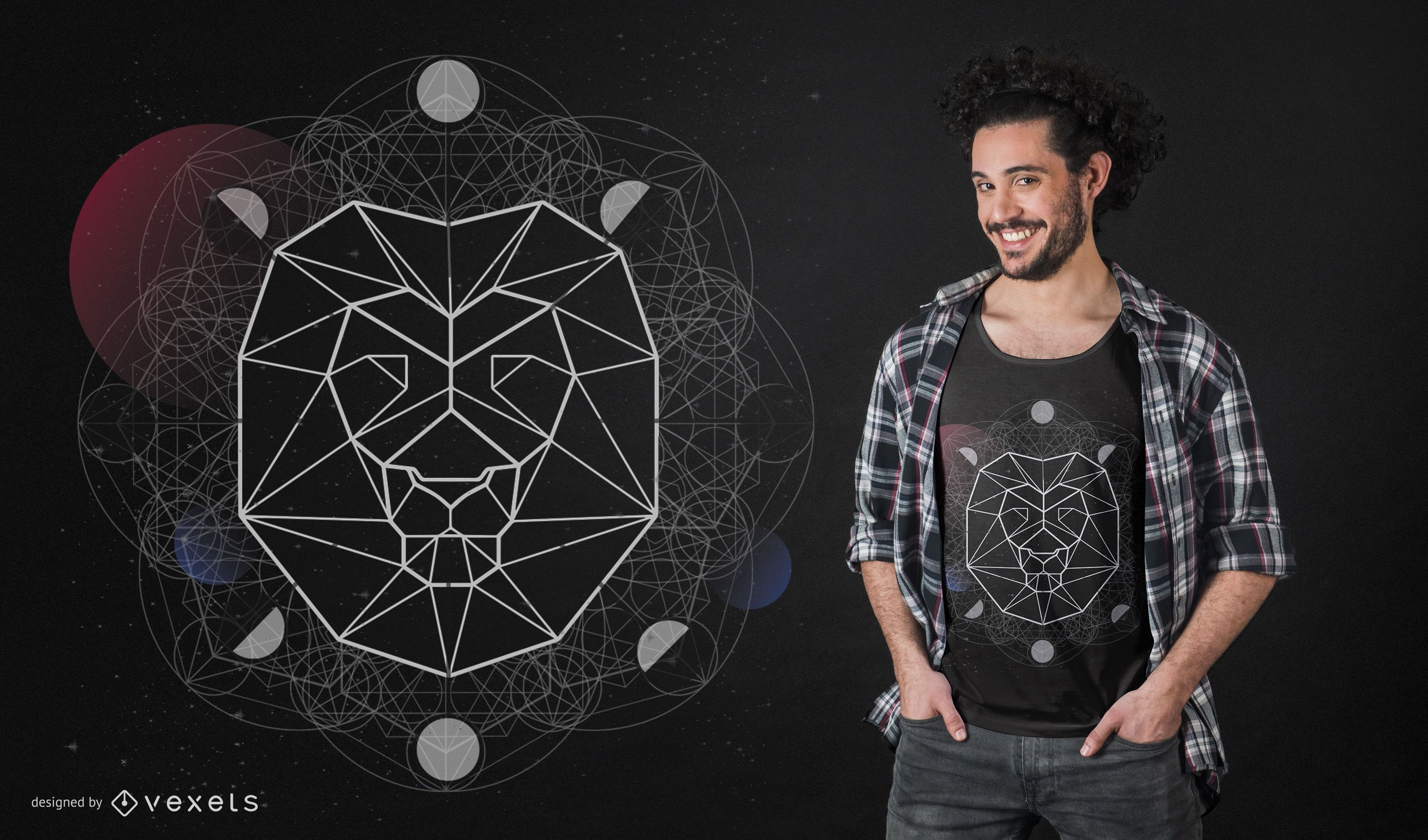 Geometric Lion Head T-Shirt Design