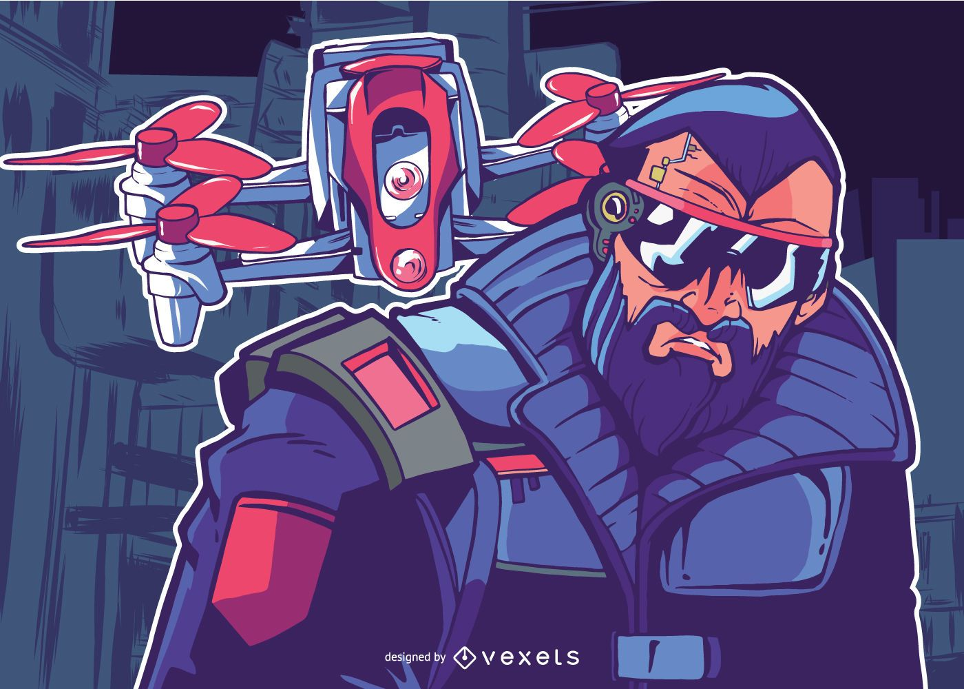 Man with Drone illustration