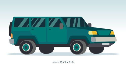 Large Green 4x4 Car Illustration