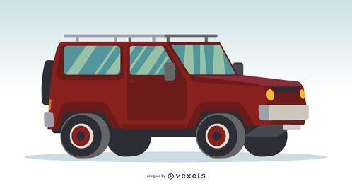 Ilustración de coche rojo 4x4