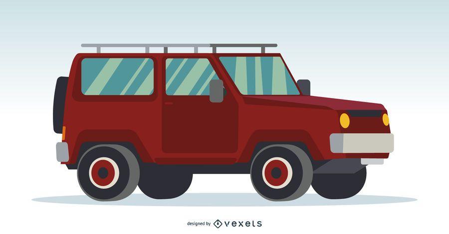Ilustración roja del coche 4x4