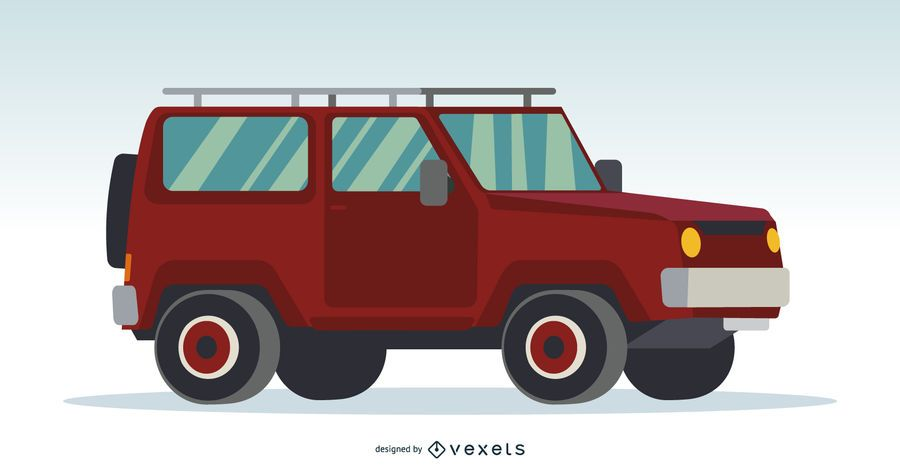 Rote Illustration des Autos 4x4