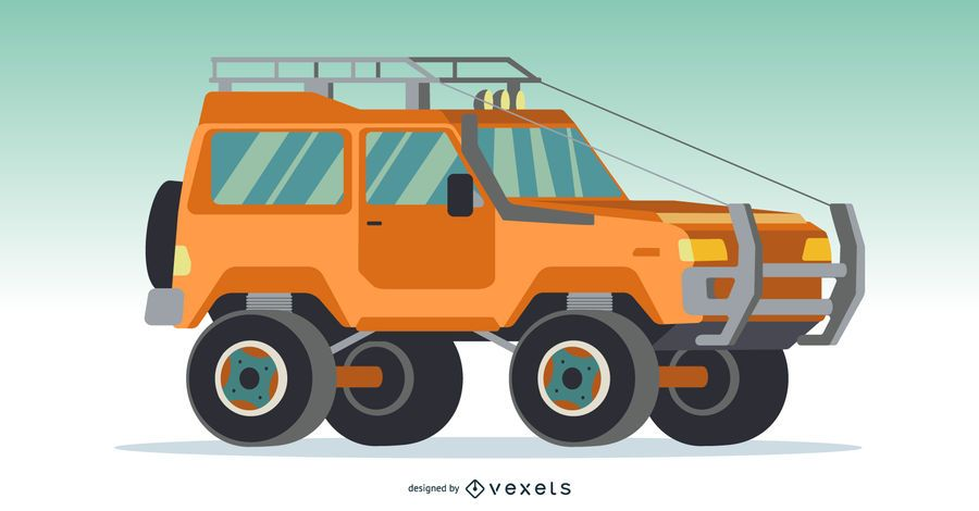 Orange 4x4 Car Illustration