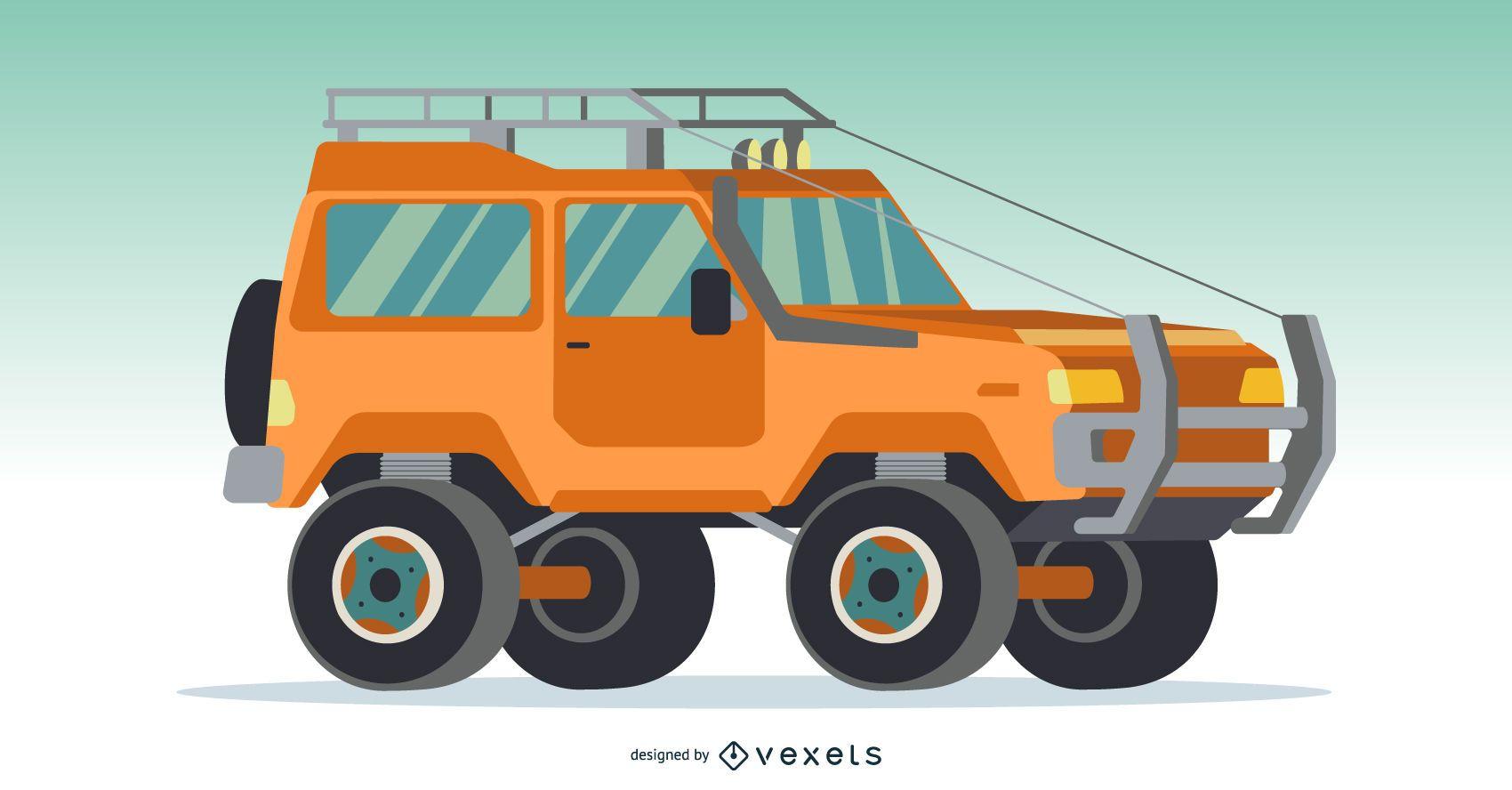 Orange 4x4 Car Illustration