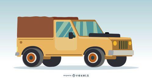 Ilustração de caminhão 4x4 creme