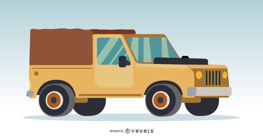 Ilustración de camión crema 4x4