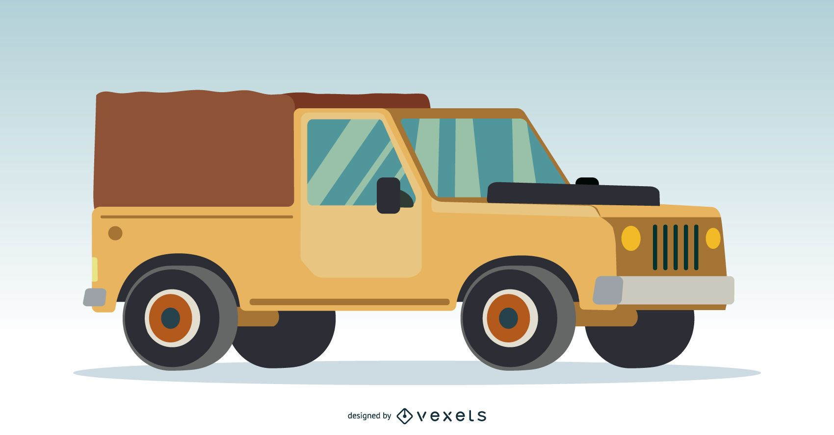 Cream 4x4 truck illustration