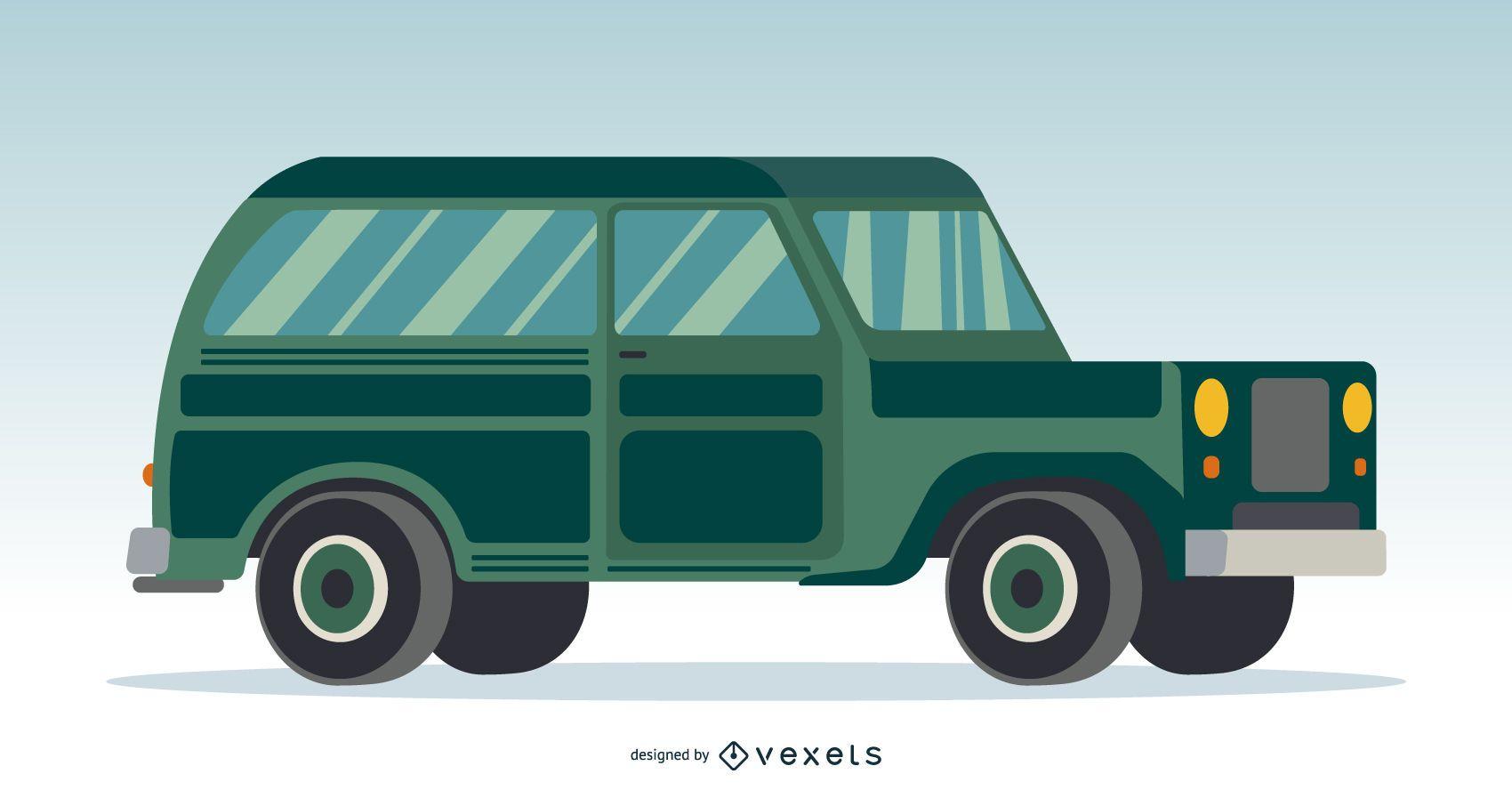 Ilustraci?n de coche verde cl?sico